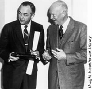 Bureau of the Budget Director Maurice Stans and President Eisenhower.jpg
