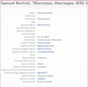 Samuel Bechtel's First Marriage.JPG