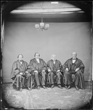 Salmon P. Chase, Chief Justice, U.S., Hon. Nathan Clafford, Maine., Hon. Samuel F. Miller, U.S. Supreme Court., Judge Samuel Nelson.jpg