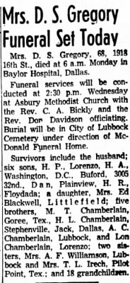 Pearl Chamberlain Gregory 1958 Obit.png