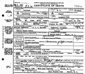 Isaac Ellis Howell 1952 NC Death Cert.jpg