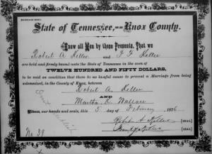 Martha K Wallace 1876 to R A Keller Marr Bond.jpg