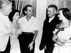 Spencer Tracy, Liz Taylor, Vincent Minnelli, Laurence Olivier.jpg
