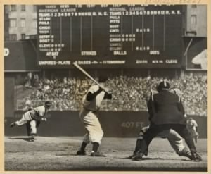 Hayes Catching Feller No Hitter, Dimaggio at bat.jpg