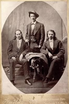 Wild Bill Hickok, Texas Jack Omohundro, and Buffalo Bill Cody in 1873.jpg