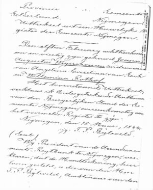 Joannes Augustus Weyershausen document from shows Nijmegen marriage Angelina widowed then marriage to Willemina Rothof .jpg