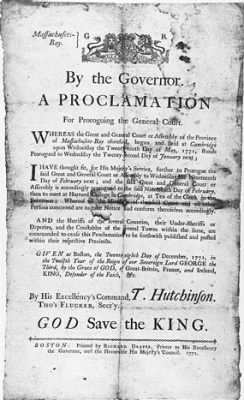 Proclamation issued by Governor Hutchinson