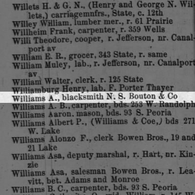 A.Williams 1864 Chicago City Directory