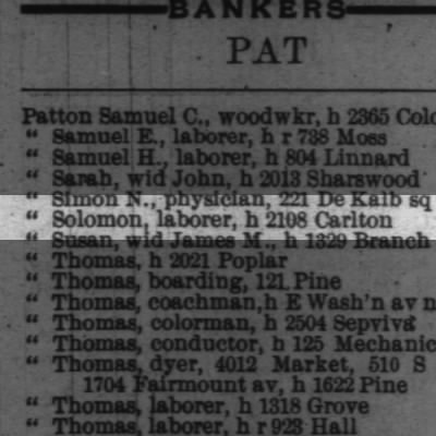 Patton, Solomon, laborer, h 2108 Carlton