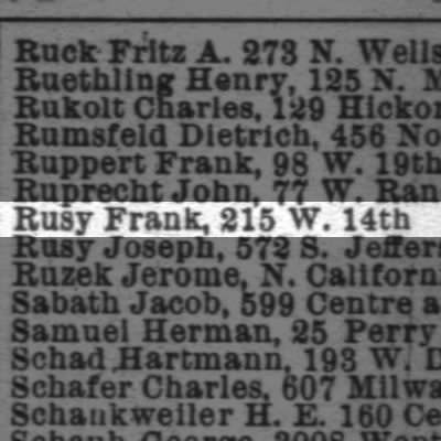 Rusy, Frank      Chicago City Directory