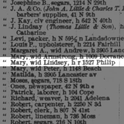 Little Mary, wid Lindsey, h r 1527 Philip