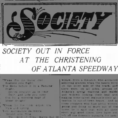 Society out in Force at the Christening of Atlanta Speedway!- Nov 1909