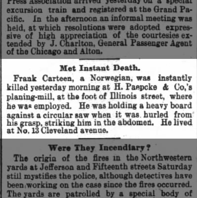 Death of worker at H. P planing mill