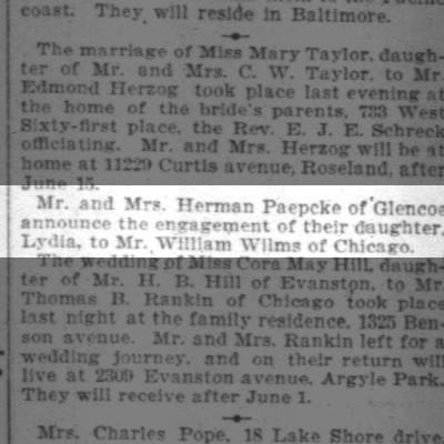 Bill and Lydia's engagement 29 Apr 1904